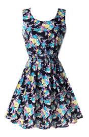 Leuk meiden zomerjurkje met elastieken taille met blauw roze gele bloemetjes mt 146 t/m 164 (XS/S)