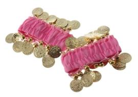 Setje polsbandjes fuchsia met gouden muntjes