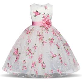 Schitterende luxe witte feestjurk met roze bloemen maat 116/122