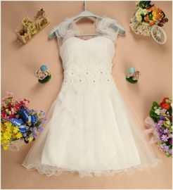 Prachtig wit bruidsmeisjes jurkje met chiffon schouderbandjes XS/S