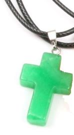 Veterketting met kruis van geslepen Maleisische Jade