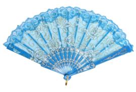 Prachtige dameskimono met pauwen turquoise