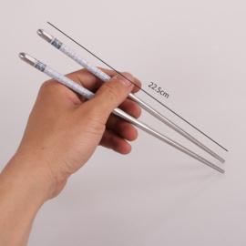 Eén paar metalen chopsticks/haarpennen wit/grijs