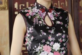 Mouwloos Chinees bloemenjurkje zwart