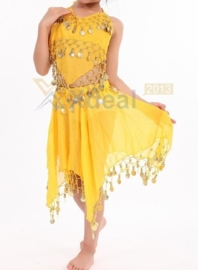 Leuk kinder buikdans setje met rinkelende gouden muntjes geel 116-140