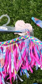 Geweldige Ibiza bikini met zomerse print en roze franje