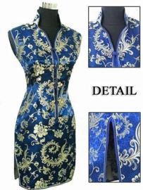 Elegant brokaat mouwloos Chinees jurkje kobalt met goud