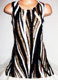 TOP retro pailletten jurkje zwart/wit/goud maat 92 t/m 110