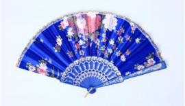 Fantastische lange kobaltblauwe dameskimono met Geisha
