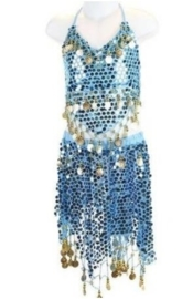Superleuk glitter buikdanssetje blauw met gouden muntjes 116-128