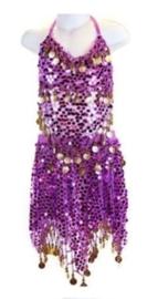 Superleuk glitter buikdanssetje paars met gouden muntjes 116-128