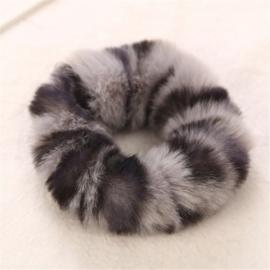 Animal scrunchie grijs/zwart