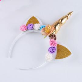 Haarband UNICORN met bloemen goud
