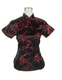 Mooi zwart met rood getailleerd chinees blousje pruimenbloesem motief