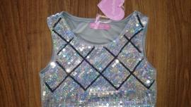 Schitterend glitter pailletten jurkje ruit zilver maat 92 t/m 116