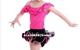 LATIN SALSA danssetje rokje met roezeltopje fuchsiaroze met zwart