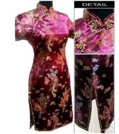 Prachtig donkerfuchsia chinees damesjurkje draken en phoenix motief