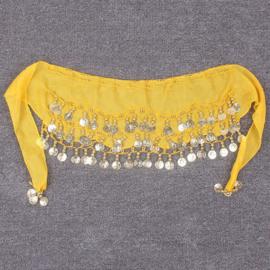 Superleuke gele kinderheupsjaal met gouden muntjes