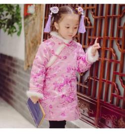 Superleuk setje èchte chinese haarclips met lila bloem en kwastje