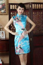 Mouwloos Chinees pauwenjurkje turquoise