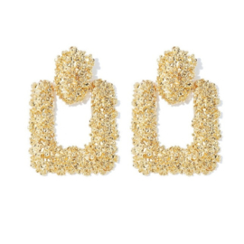 Gouden chunky vierkante statement oorbellen 6 cm