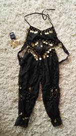 Leuk kinder harempakje met rinkelende gouden muntjes zwart 116-134