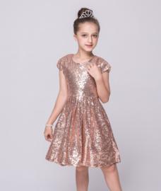 B-keuze Schitterend zwierig all-over glitterpailletten jurkje rosé-goud 128/134