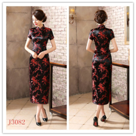 Fantastische lange zwart/rode chinese jurk pruimenbloesem motief t/m maat 48!