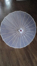 Effen witte Chinese bamboe parasol 70 cm