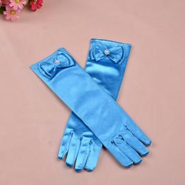 Gala handschoentjes met strik voor meisje 4-8 jaar turquoise