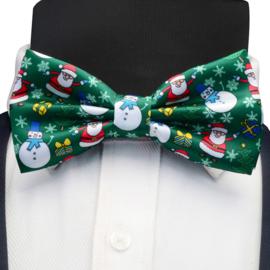 Kerststrikje groen Kerstmannen en Sneeuwpoppen