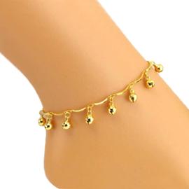 Enkelbandje met belletjes goud