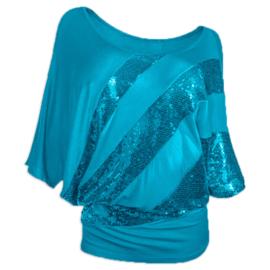 """Hippe turquoise """"vleermuis"""" paillettentop voor meiden maat 158/164/XS/S"""