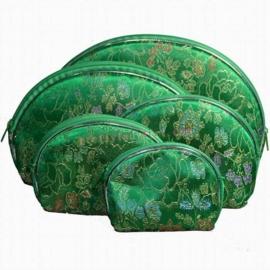 Chinese brokate tasjes set van 5 stuks groen
