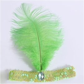 Elastieken pailletten haarband met veer groen