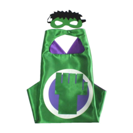 Hulk cape + masker kind 3-8 jaar