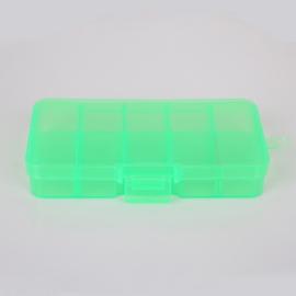 Klein opbergdoosje groen 10 vakjes 13 x 6 x 2 cm