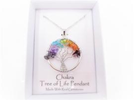 Tree of Life ketting met chakra edelsteentjes in geschenkdoosje