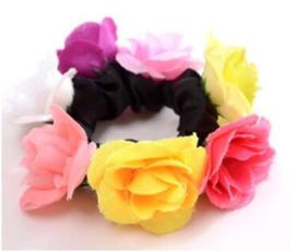 Scrunchie met roosjes multicolor