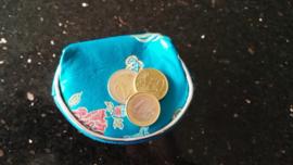Leuk klein brokaat portemoneetje met rits turquoise