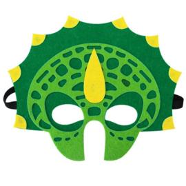 Geweldig leuk en stevig dino masker van vilt groen/geel