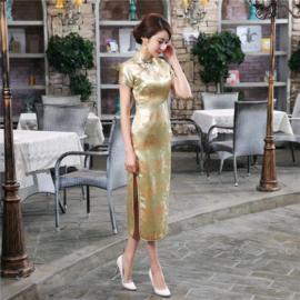 Fantastische lange gouden chinese jurk met draken en phoenix motief