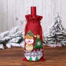 Luxe rode kadoverpakking wijnfles Sneeuwman