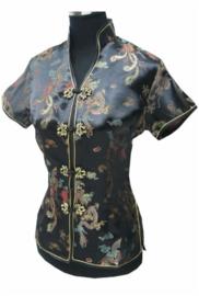 Prachtig zwart chinees blousje met Chinese voorsluiting drakenmotief
