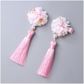 Superleuk setje èchte chinese haarclips met lichtroze bloem en kwastje
