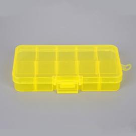 Klein opbergdoosje geel 10 vakjes 13 x 6 x 2 cm