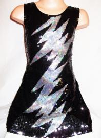 Flitsend zwart glitter pailletten jurkje met zilveren bliksem