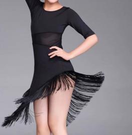 Supermooi Latin dansjurkje met franje zwart