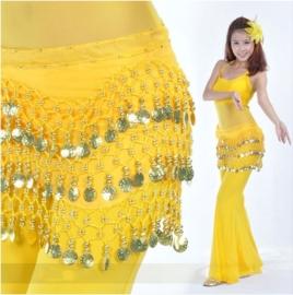 Leuke gele chiffon heupsjaal gouden muntjes