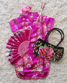 Beeldschoon brokaat Chinees jurkje met gewoven bloemen fuchsia
